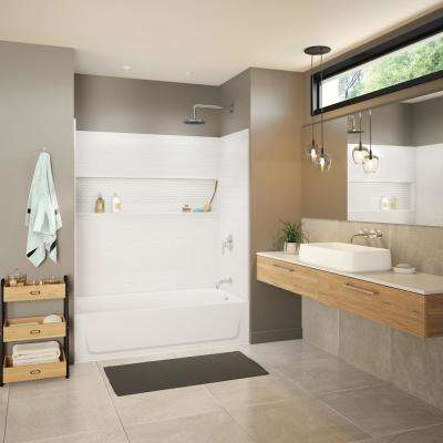 Aloha NexTile 30 in. x 60 in. x 74.5 in. Standard Fit Alcove Bath and Shower Kit with Left-Hand Drain in White