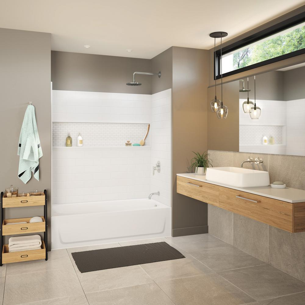 Bootz Industries Maui NexTile 30 in  x 60 in  x 76 5 in  Standard Fit  Alcove Bath and Shower Kit with Right-Hand Drain in White