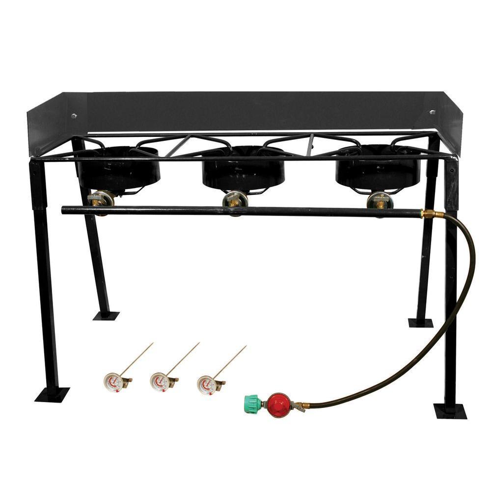 54,000 BTU Heavy Duty Portable Propane Gas Triple Burner Outdoor Cooker