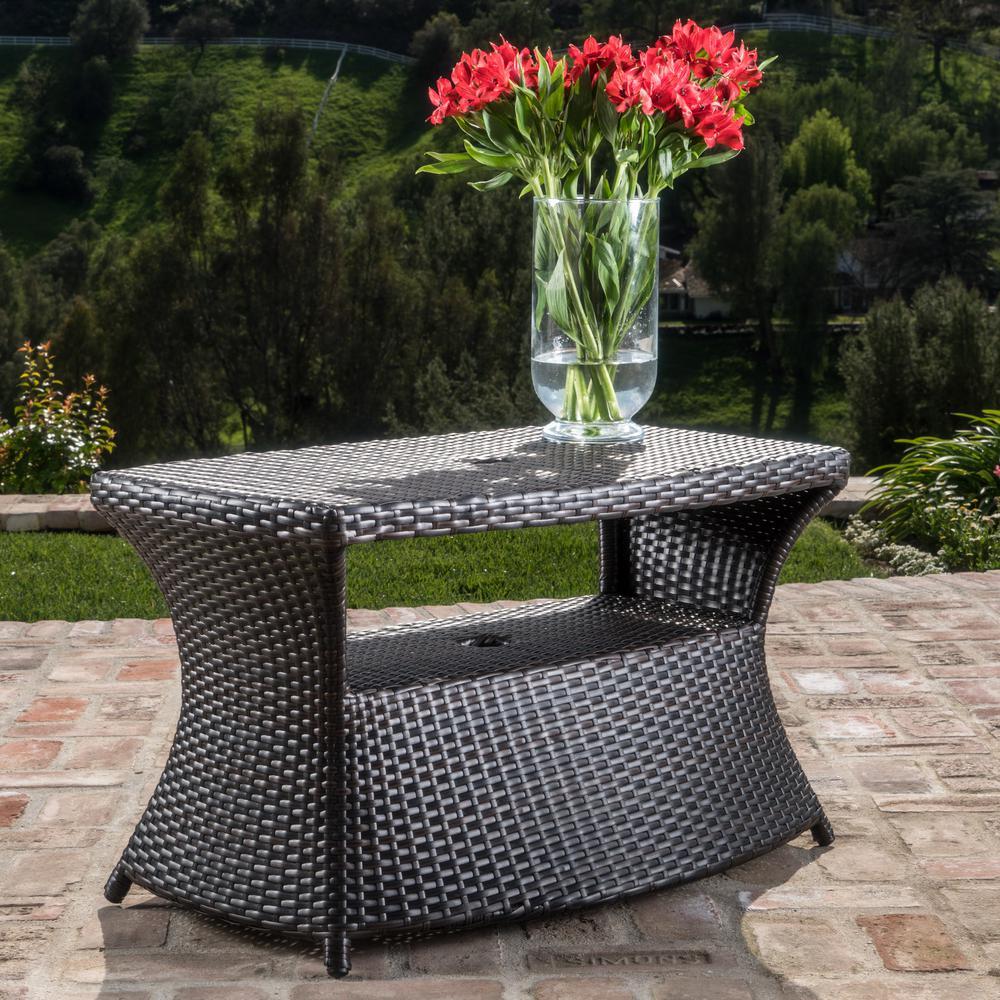 Adrian Multibrown Wicker Outdoor Side Table