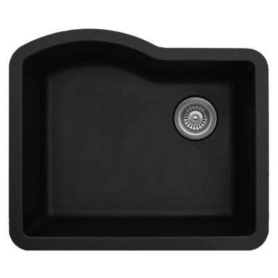 Undermount Quartz Composite 24 in. Single Bowl Kitchen Sink in Black
