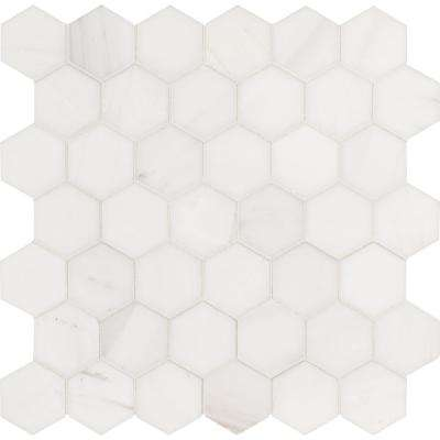 Bianco Dolomite Hexagon 12 in. x 11.75 in. x 10mm Polished Marble Mesh-Mounted Mosaic Tile (9.8 sq. ft. / case)
