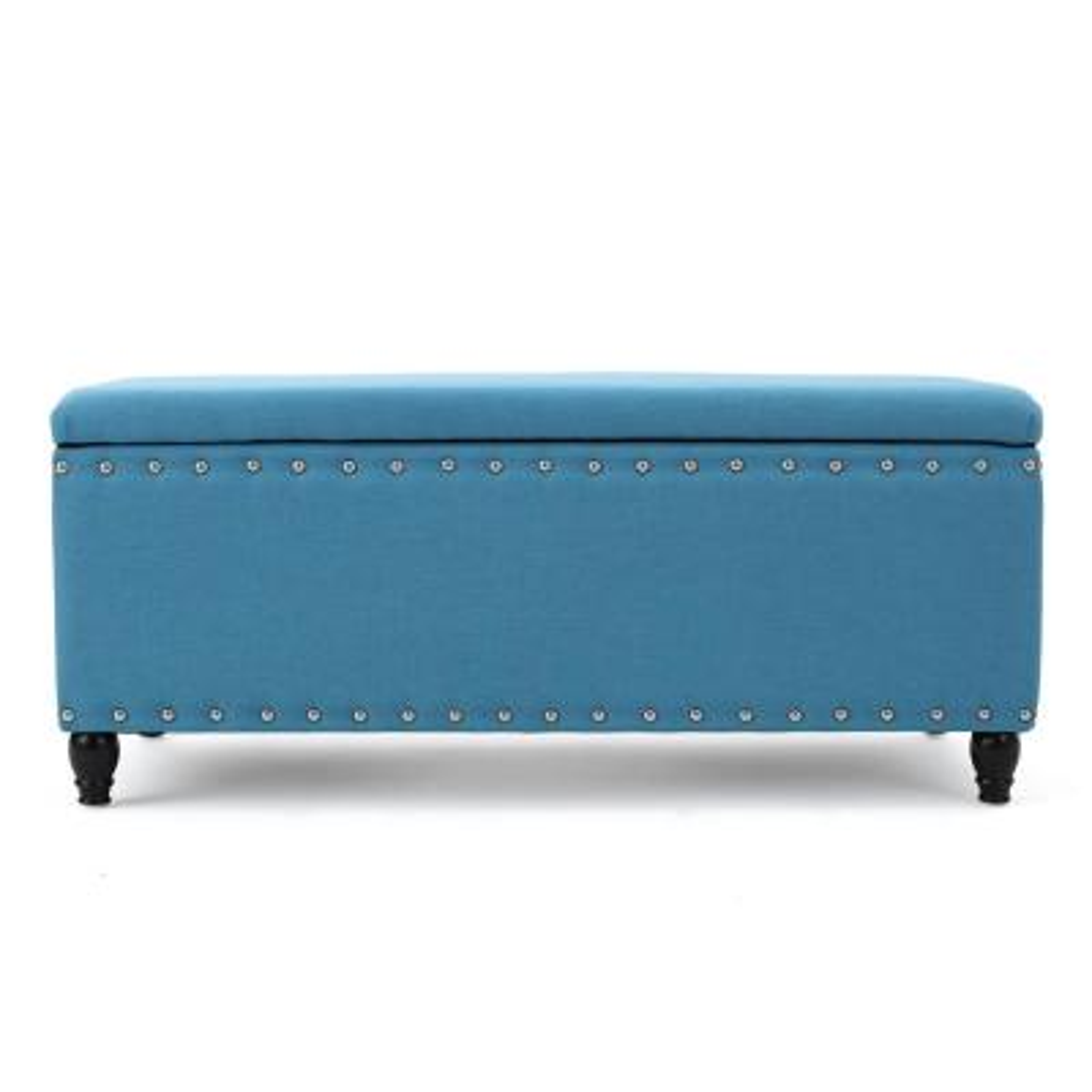 Tatiana Teal Fabric Storage Bench with Studs