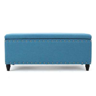 Tatiana Teal Fabric Storage Bench with Studs