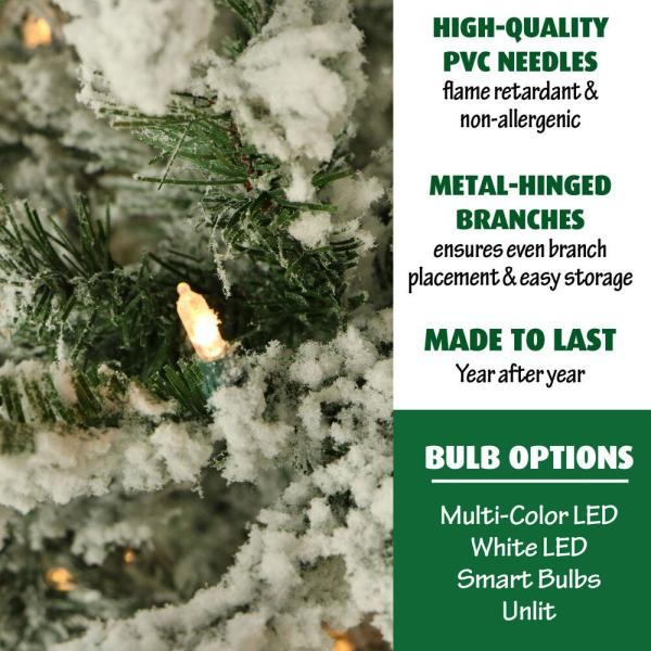 Fraser Hill Farm 7 5 Ft Pre Lit Flocked Snowy Pine Artificial Christmas Tree With 650 Clear Smart String Lighting Ffsn075 3sn The Home Depot