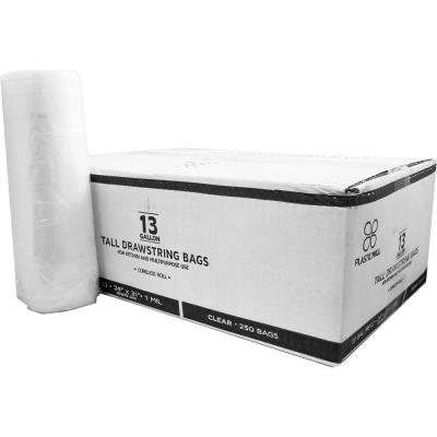 13 Gal. 1 mil 24 in. x 31 in. Clear Drawstring Bags (250- Count)