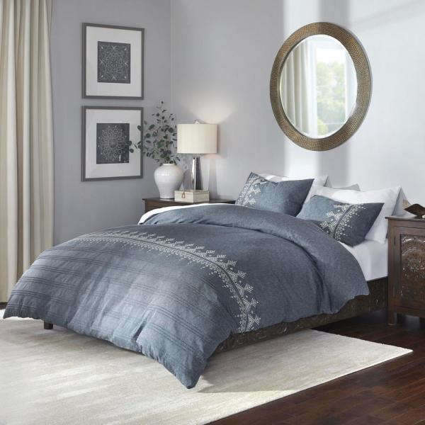 Home Decorators Collection Roanne 3-Piece Steel Blue Stripe King Duvet Cover