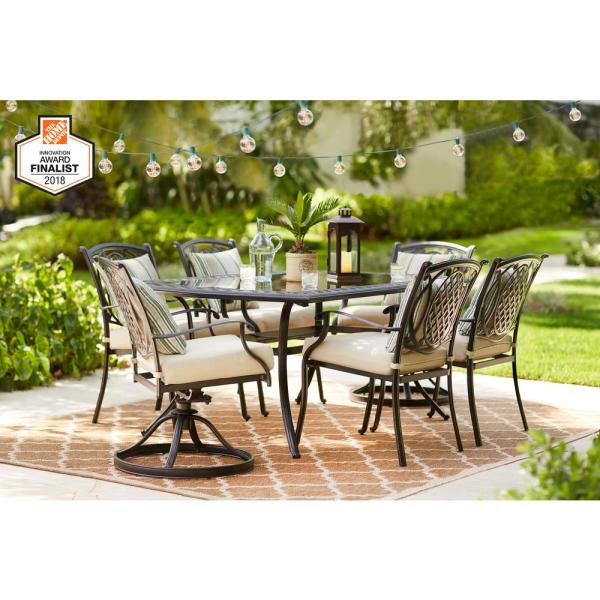 Hampton Bay Belcourt 7 Piece Metal Outdoor Dining Set With Cushionguard Oatmeal Cushions D11334g 7pc2 The Home Depot