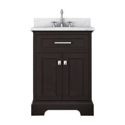 Yorkshire 25 in. W x 22 in. D Bath Vanity in Espresso with Marble Vanity Top in White with White Basin