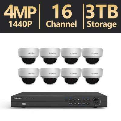 16-Channel 4MP 3TB IP NVR Surveillance System (8) 4MP Dome Cameras with Remote View