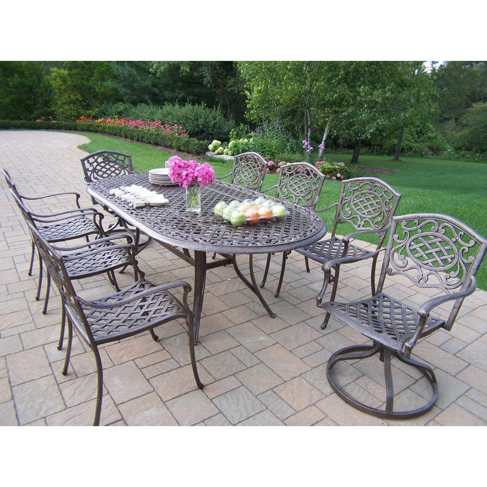 9-Piece Aluminum Outdoor Dining Set with Oatmeal Cushions Oval Table 6