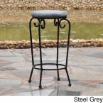 undefined International Caravan Iron 29 in. Black Mat Bar Stools with Grey Micro-Suede Seat (Set of 2)