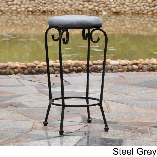 International Caravan Iron 29 in. Black Mat Bar Stools with Grey
