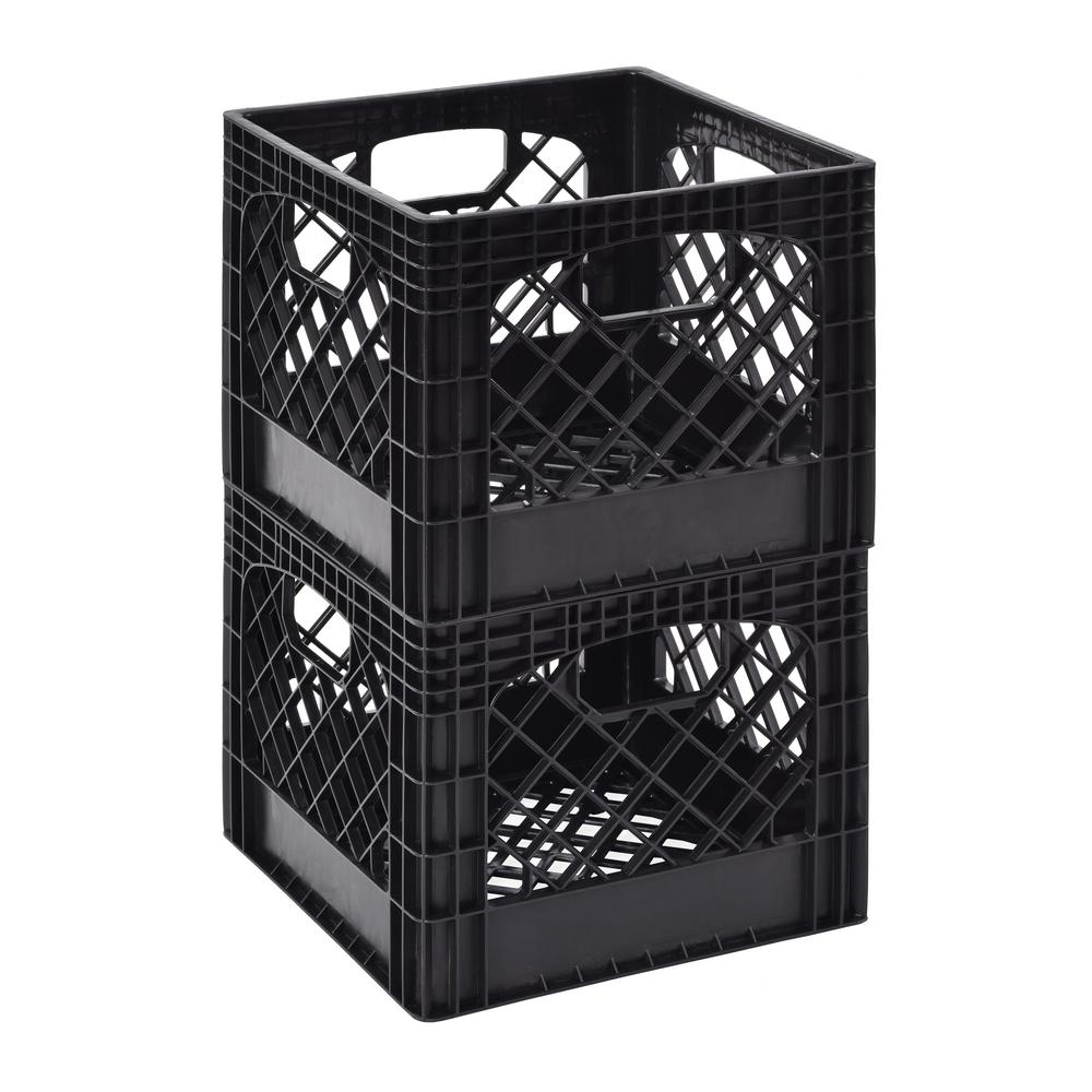 11 in. H x 13 in. W Milk Storage Crate Basket in Black (2...