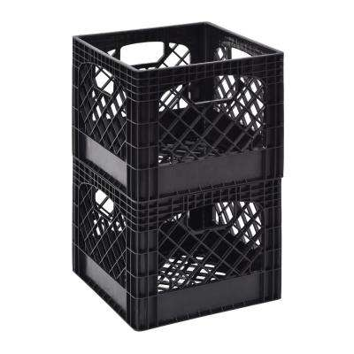 11 in. H x 13 in. W Milk Storage Crate Basket in Black (2-Pack)