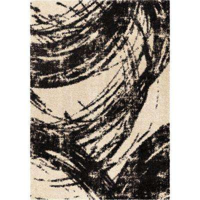 Sweeping Coal Ivory Abstract Shag 7 ft. 10 in. x 10 ft. 10 in. Indoor Area Rug