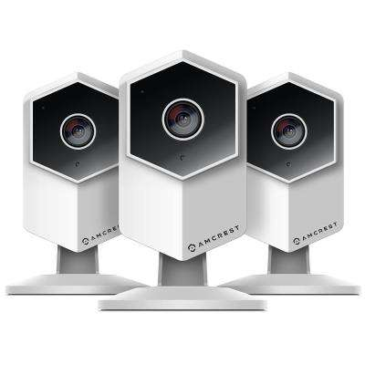 UltraHD Wireless Indoor Shield IP Surveillance Camera, 2-Way Audio, MicroSD, 140 Viewing Angle 3MP Night Vision (3-Pack)