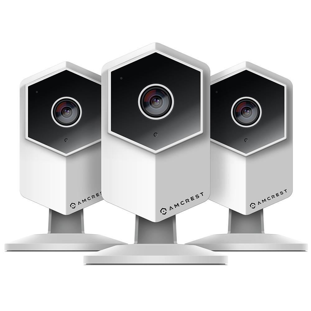 UltraHD Wireless Indoor Shield IP Surveillance Camera, 2-Way Audio, MicroSD, 140 Viewing Angle 3MP Night Vision (3-Pack)