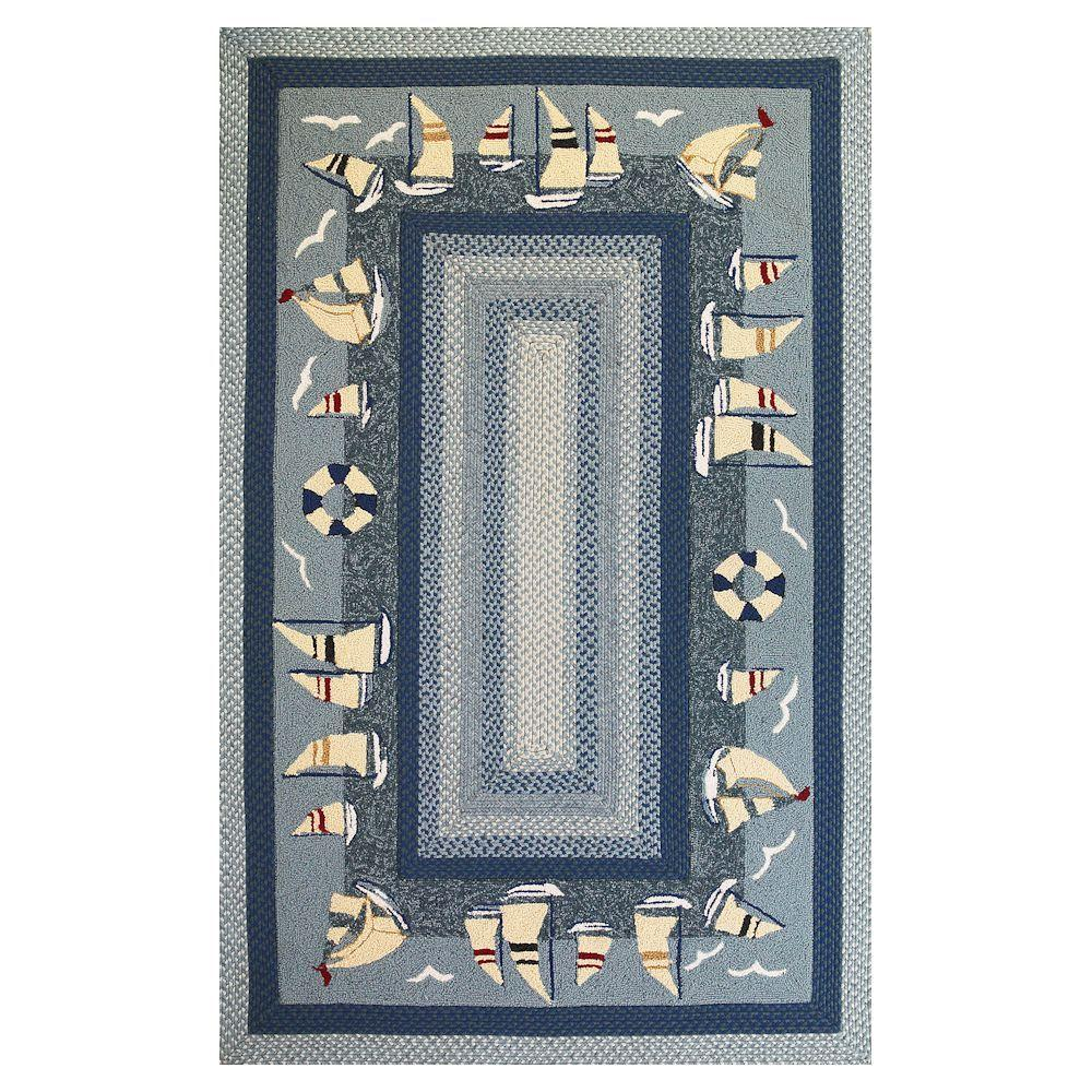 Kas Rugs Sail Away Blue 2 ft. 3 in. x 3 ft. 9 in. Area Rug