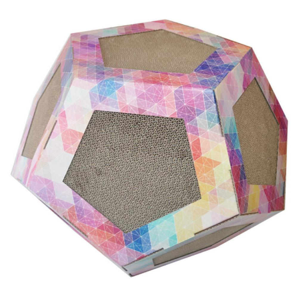 Pink Pattern Octagon Ultra Premium Collapsible Puzzle Pet Cat Scratcher Toy