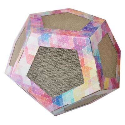 Pink Pattern Octagon Ultra Premium Collapsible Puzzle Pet Cat Scratcher Toy And House