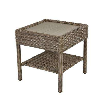 Hampton Island Side Table.Cambridge Grey Wicker Outdoor Side Table