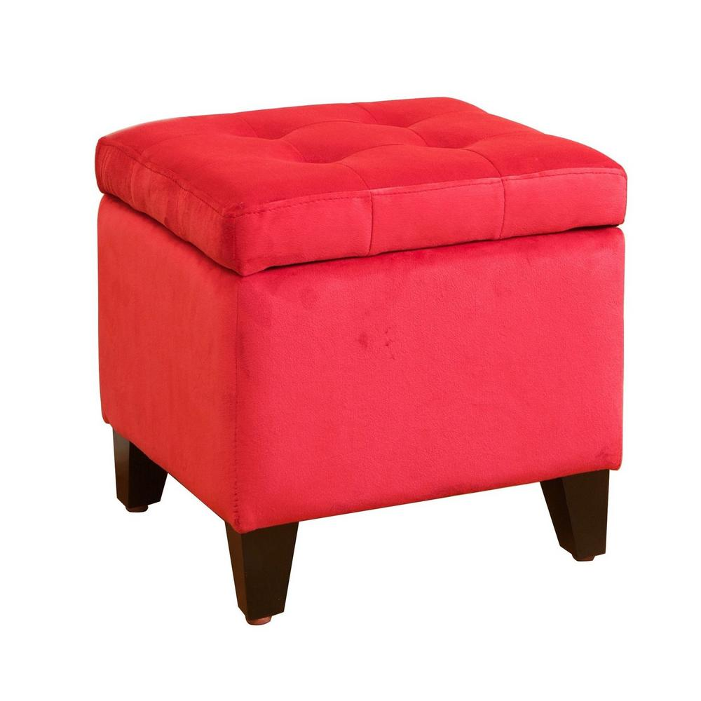 Noble House Tufted Red Microfiber Storage Ottoman Never run out of extra storage or extra seating space with this square tufted fabric storage ottoman. Sleek and simple lines allow you to mix and match this piece with any pre-existing decor. Put your books, magazines, game controllers and other knick-knacks in it and make them easily accessible at a moment's notice. Color: Red.