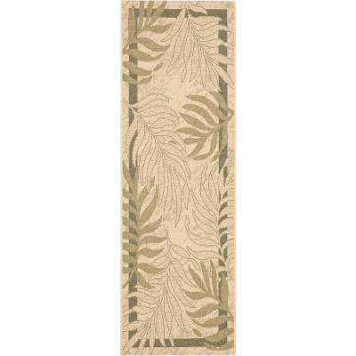 Courtyard Cream/Green 2 ft. x 12 ft. Indoor/Outdoor Runner