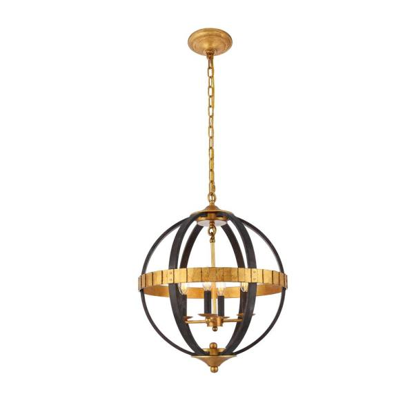 Timeless Home 18 in. L x 18 in. W x 22 in. H 4-Light Saddle Rust and Golden Iron Contemporary Pendant