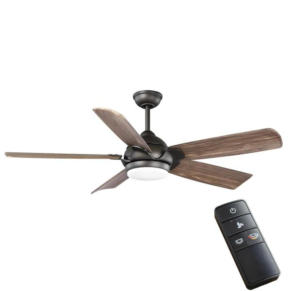 Camrose 60 in. Integrated LED Bronze Ceiling Fan with Light Kit and Remote Control with White Color Changing Technology