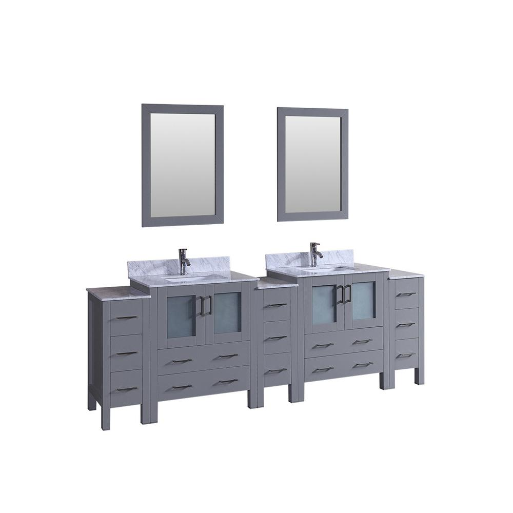 Bosconi 96 in. Double Vanity in Gray with Carrara Marble Vanity Top in Gray with White Basin Polished Chrome Faucet and Mirror
