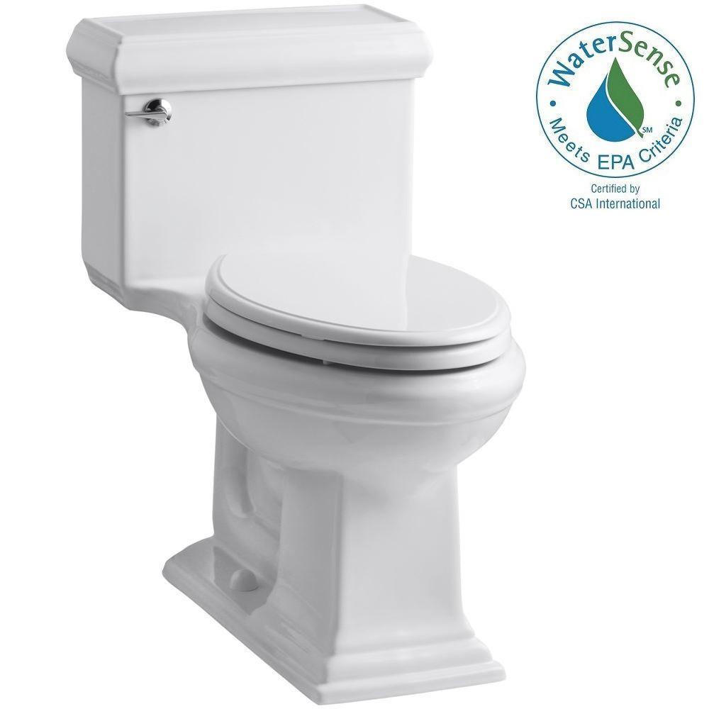 KOHLER Memoirs Classic 1-Piece 1.28 GPF Single Flush Elongated Toilet with AquaPiston Flush Technology in White