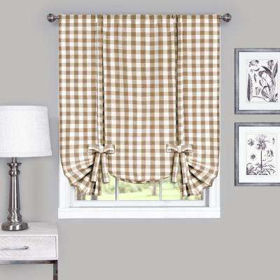 42 in. W x 63 in. L Buffalo Taupe Cotton Tie Up Shade Curtain