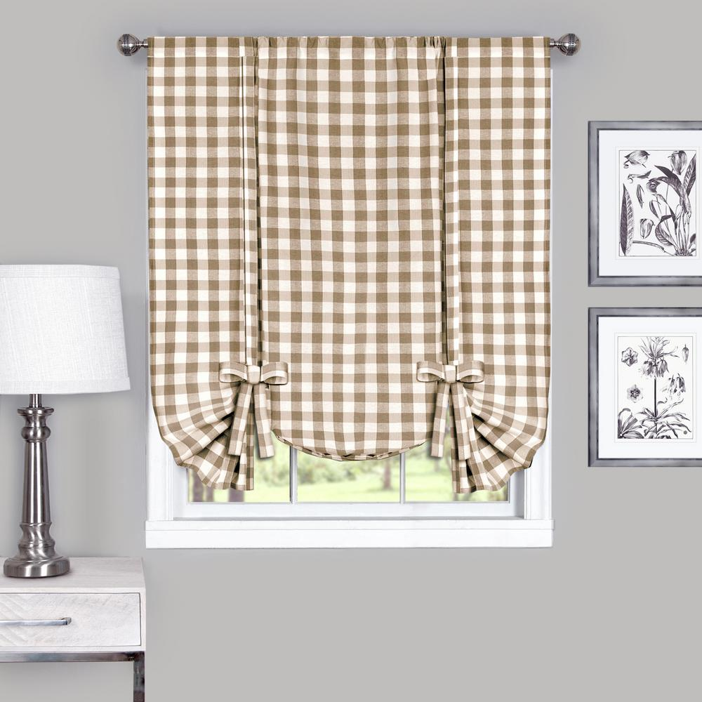 Achim 42 in. W x 63 in. L Buffalo Taupe Cotton Tie Up Shade Curtain
