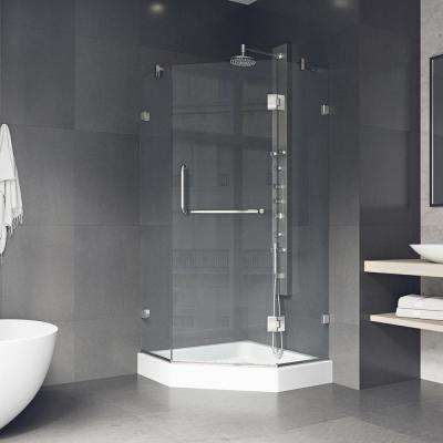 Piedmont 40.25 in. x 78.75 in. Frameless Neo-Angle Shower Enclosure in Brushed Nickel and Clear Glass with Base in White