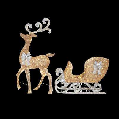 65 in. LED Lighted Gold Reindeer and 46 in. LED Lighted Gold Sleigh with Silver Bows