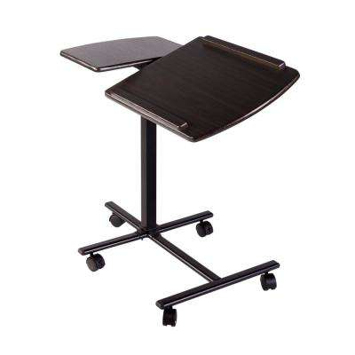 Espresso Angle and Height Adjustable Mobile Laptop Computer Desk with Dual Surface