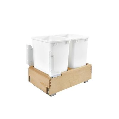 Hampton Bay Ready to Assemble Denver White Shaker 14.5x19.25x21.75 in. Soft-Close Trash Pullout in Natural Wood, Light Brown...