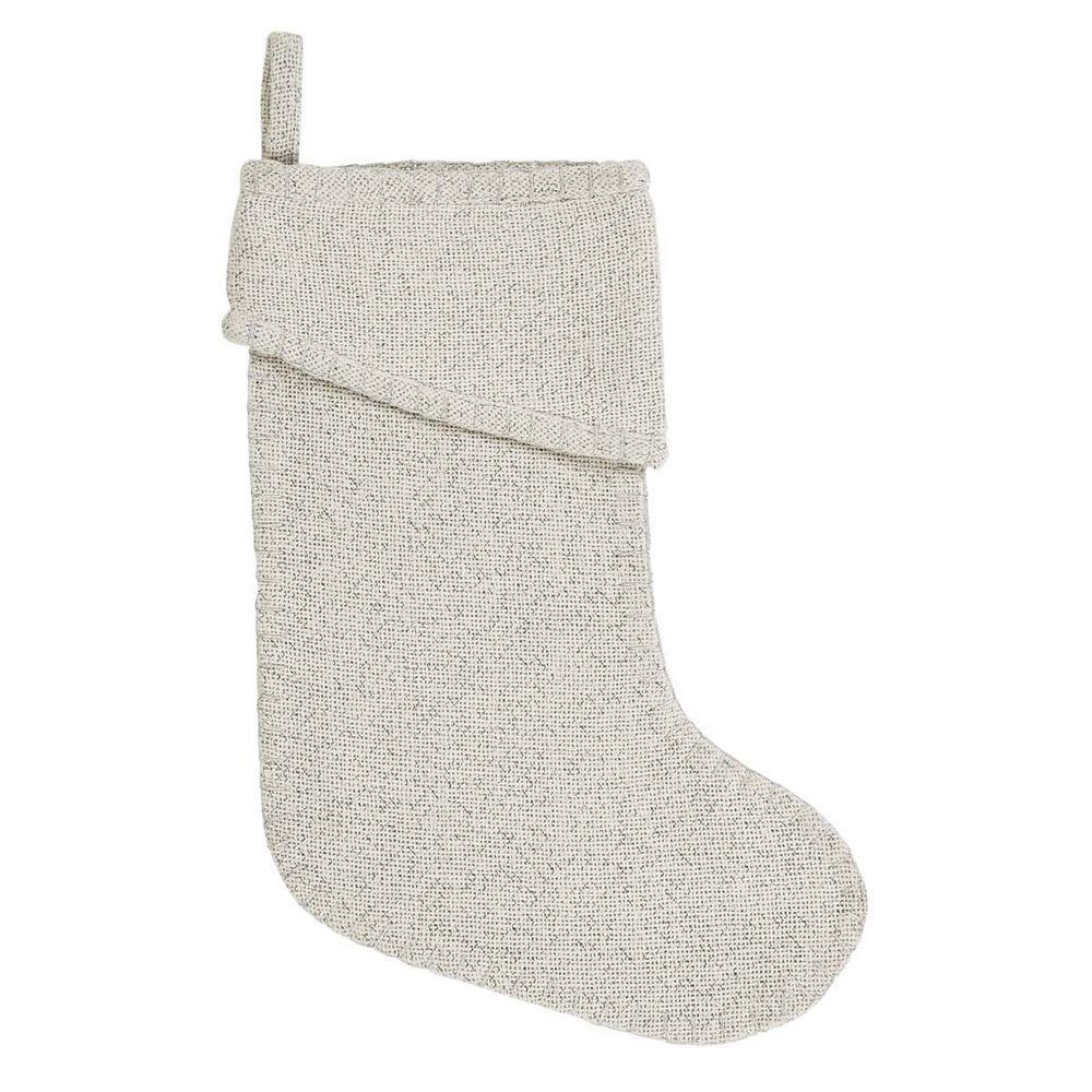 15 in. Cotton/Metallic Thread Creme Nowell Farmhouse Christmas Decor Stocking