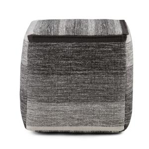 Deals on Simpli Home Naya Transitional Cube Pouf in Patterned Melange Cotton