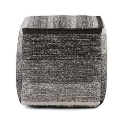 Naya Patterned Grey Melange Cube Pouf