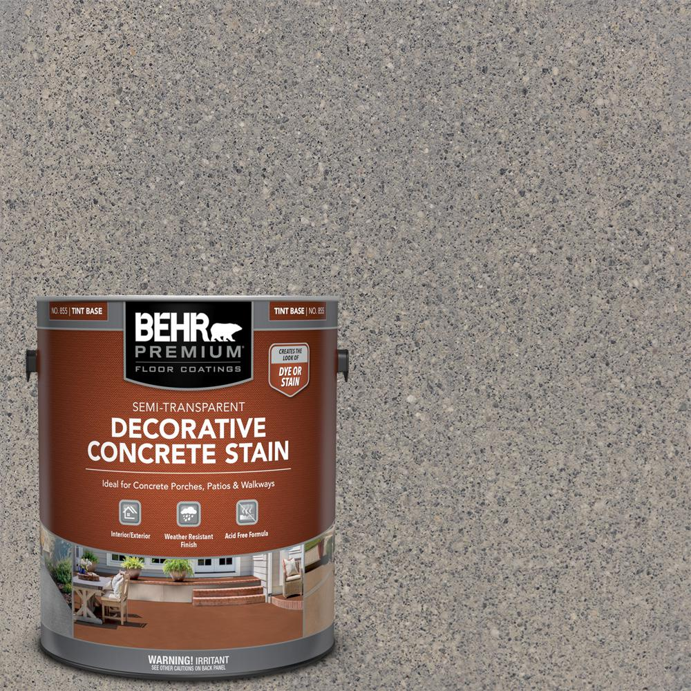 BEHR PREMIUM 1 gal. #DCS-825 Industrial Gray Semi-Transparent Flat Interior/Exterior Decorative Concrete Stain