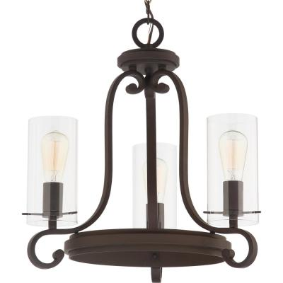 Regina 3-Light Antique Bronze Indoor Mini Hanging Chandelier with Clear Glass Cylinder Shades