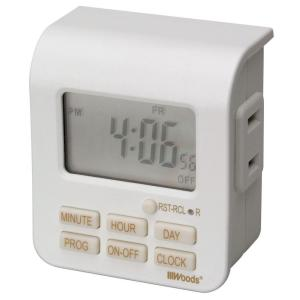Woods 7-Day Digital Indoor Lamp Timer 2 Conductor - White by Woods