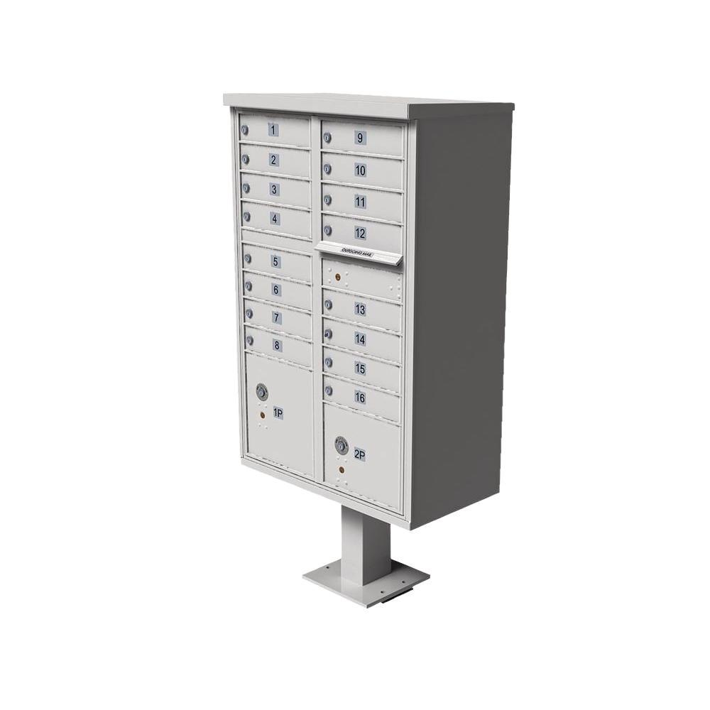 Florence Vital 1570 16 Mailboxes 2 Parcel Lockers 1 Outgoing Pedestal Mount Cluster Box Unit