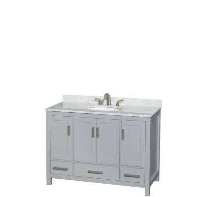 Sheffield 48 in. W x 22 in. D Vanity in Gray with Marble Vanity Top in Carrara White with White Basin