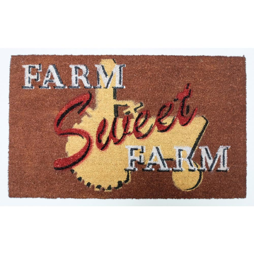 Farm Sweet Farm Vinyl Back Coco Door Mat