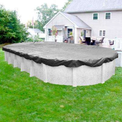Platinum 12 ft. x 21 ft. Oval Silver Solid Above Ground Winter Pool Cover