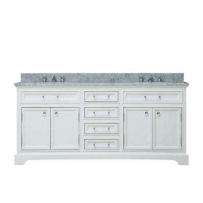 72 in. W x 22 in. D Bath Vanity in White with Marble Vanity Top in Carrara White and Chrome Faucet with White Basin
