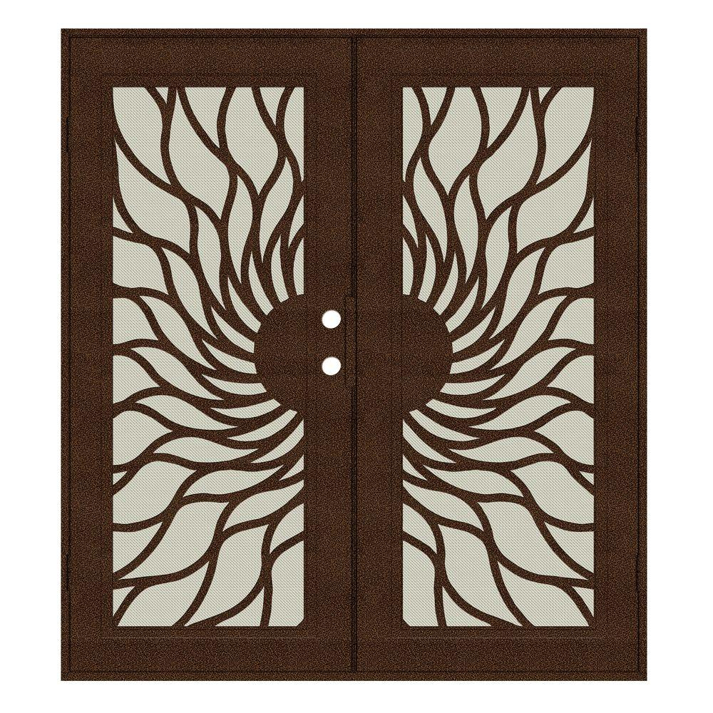 Unique Home Designs 60 in. x 80 in. Sunfire Copperclad Right-Hand Surface Mount Aluminum Security Door with Beige Perforated Screen